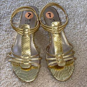 New York Transit Gold Wedge Sandals
